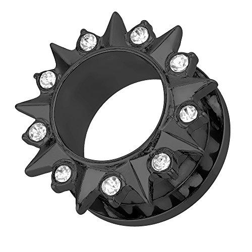 Taffstyle Túnel dilatador para la oreja, de acero inoxidable, tornillo tribal, cierre de rosca, puntas con cristales brillantes, color negro, 12 mm