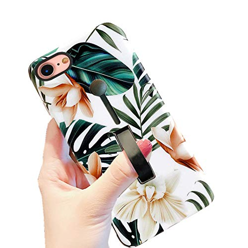 iPhone 8 Case iPhone 7 Case Finger Grip,3D Embossed Green Leaves with White & Brown Flowers Design Rugged Shockproof Slim Fit Dual Layer Finger Ring Loop Strap Case Finger Strap for iPhone 7/8 (4.7')