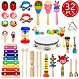 TAIMASI Kids Musical Instruments, 32PCS 18 Types Wooden Percussion Instruments Tambourine Xylophone Toys for Kids Children, Preschool Education Early Learning Musical Toy for Boys and Girls
