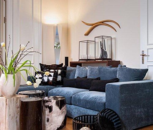 Amaris Elements | 'Newman' Ecksofa Samt inkl. 6 Kissen | Länge 3m Stoff Bezug blau grau | Wohnlandschaft Sitzgarnitur in L-Form