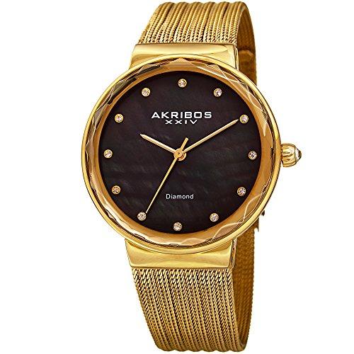 Akribos XXIV AK1009 - Reloj de pulsera de malla fina con diamantes y nácar para mujer