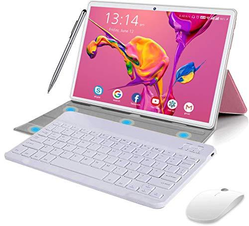 Tablet 10 Pollici Android 10.0 Originale 4GB RAM 64GB ROM+Espanso 128GB con Schermo IPS HD Quad Core 1.6GHz Tablets Dual LTE SIM con WIFI |8000mAh |Bluetooth |GPS |Type-C con Tastiera e Mouse (Rosa)