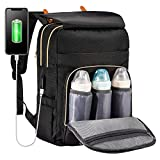 Diaper Bag Backpack, Multifunction Nappy Bags Large Capacity Waterproof Baby Changing Bags for Mom and Dad, with USB Charging Port and Insulated Bottle Pockets, Black