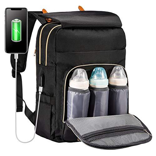 LOVEVOOK Wickeltasche Rucksack schwarz, wickelrucksack mit USB-Ladeanschluss baby rucksack mit Babyflaschen-Isolationstasche Multifunktional Große Kapazität Rucksack für unterwegs