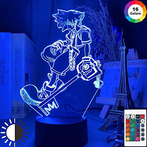 Sanzangtang Led-nachtlampje, 3D-vision-zeven, kleuren-afstandsbediening, speeltje Kingdom Hearts kindernachtlampje, verkleuring kinderkamer, decoratie, nachtlampje, glasvezel nachtlampje