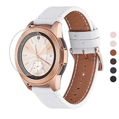 WFEAGL Kompatibel mit Samsung Galaxy Watch Armband 42mm/Gear S2 Classic/Gear Sport/Huawei Watch 2/Huawei Watch GT Elegant,20mm Top Grain Leder Ersatzband(20mm,Weiße/Gloden)