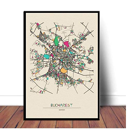 YGACJ Bucharest, Colorful Maps of The City Poster Print on Canvas Wall Art Home Decor- 50x70cm unframed