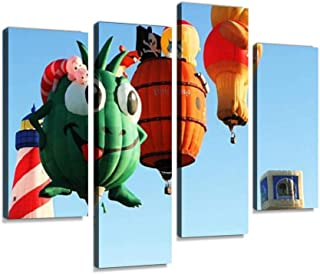 Canvas Wall Art Painting Pictures Hot Air Balloon Fun Special Shapes Modern Artwork Framed Posters for Living Room Ready to Hang Home Decor 4PANEL