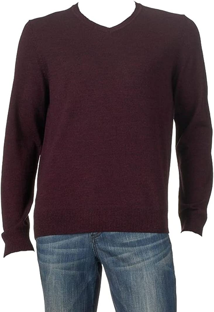LIZ CLAIBORNE Apt 9 Mens Classic Fit Merino Wool Blend V-Neck Sweater Burgundy Washable (3XLT)