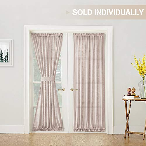 Linen Textured French Door Curtain Panel Open Weave Sheer French Door Panels with Bonus Tieback, 52