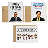 The Office card ,Dwight Schrute False , It Is Your Birthday,Michael Scott Birthday Card,4.4x6inches,3pcs,Kraft envelopes