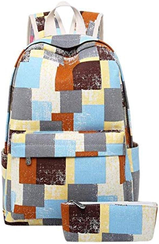 KYJ Damenr Cksack 2 Teile Satz Retro Mdchen Blaumendruck Casual Leinwand Rucksack Jugendliche Patchwork Farbe Schule Rucksack Reiserucksack