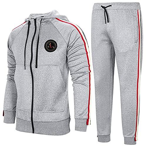BGUK Chándal para hombre de manga larga, sudadera con capucha y pantalón de chándal de deporte, 2 unidades, gris medio, XS