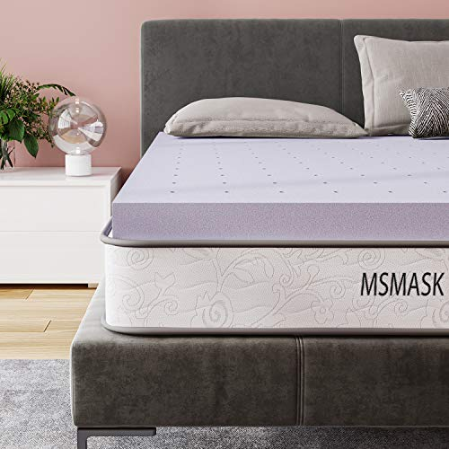 MSMASK Matratzentopper 90 x 200 x 5 cm, viscoelastischer orthopädischer Memory Foam Matratzen Topper, Matratzenauflage für Matratzen & Boxspringbett, atmungsaktiver, Lavendelduft