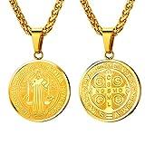 U7 Collar de Oro Tono Colgante de Placa Redonda Medalla Colgante para Mujer Figura San Benito de Nursia Santo Patrón contra Demonios Joyería de Protección para Padres Romana