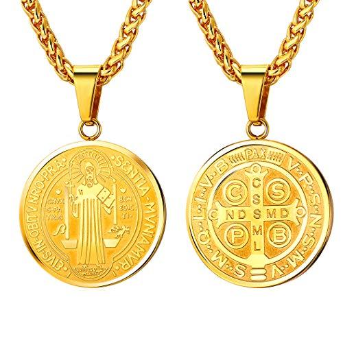 U7 Collar de Medalla San Benito Redondo/Oval/Cruz Colgante Acero Inoxidable con Cadena Espiga Ajustable para Hombre y Mujer Joyería de Amuleto para Familias con Caja de Regalo