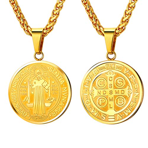Saint Benedict Necklace Protection Jewelry Religious Gift 18K Gold Plated Chain Christian Sacramental Medal Pendant Coin Necklace for Men Women