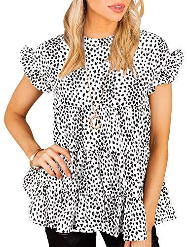 Damen Rüschen Kurzarm Blusen Lässig Punkt Druck Tunika A-Linie Rundhals Sommer T-Shirt
