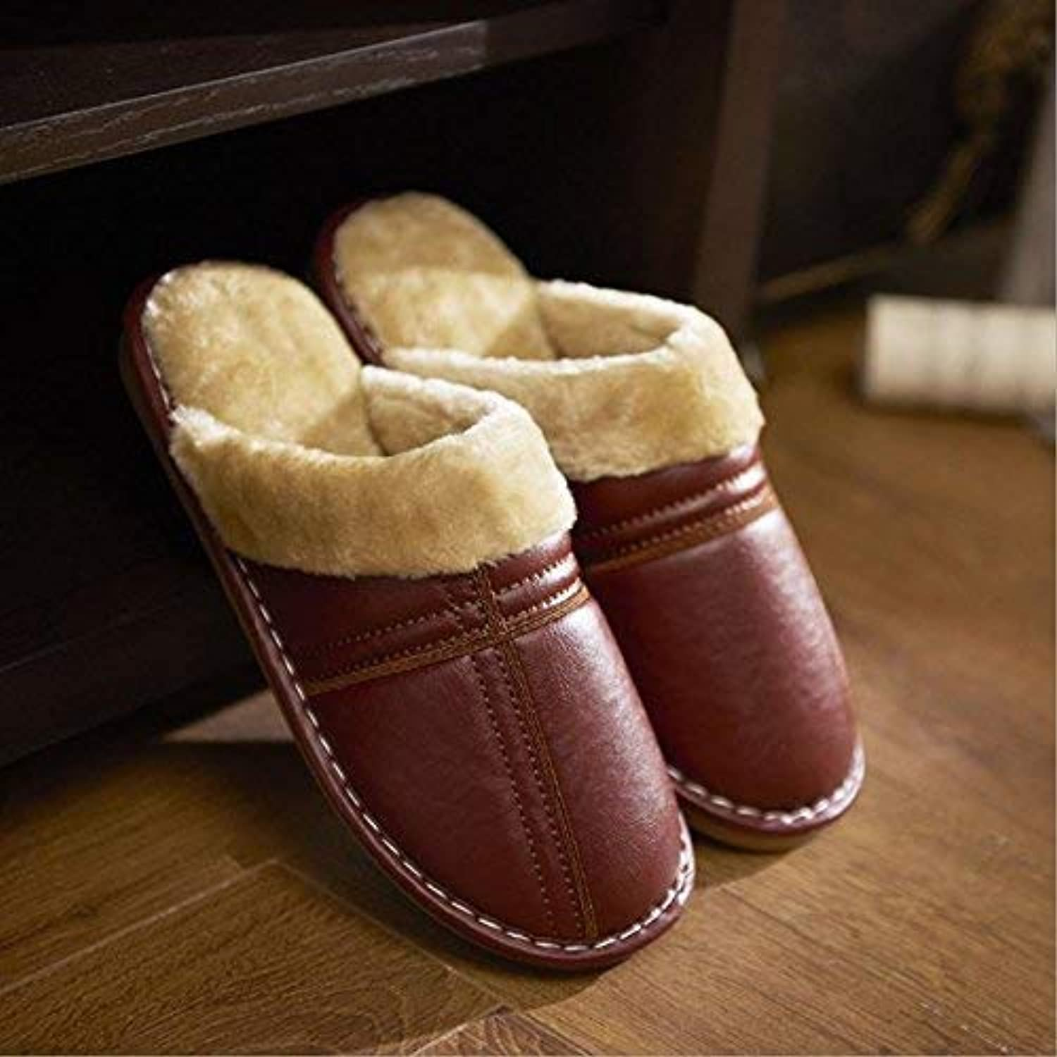 Men's Keep Warm in Autumn and Winter Home Leisure Indoor Slippers Casual Stylish Wild Fashion Comfortable Faux-Leather Slippers