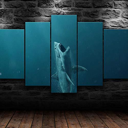 5 Piezas Lienzo Pintura,5 Paneles Cuadros,Impresión HD,Modular Póster,Decoración Hogareña,Mural Abstracto, 150Cm×80Cm,Película Submarina Shark Meg,con Marco