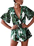 Famulily Women's Plunge V Neck Romper Printed Summer Beach Shorts Jumpsuits Playsuit Green M from