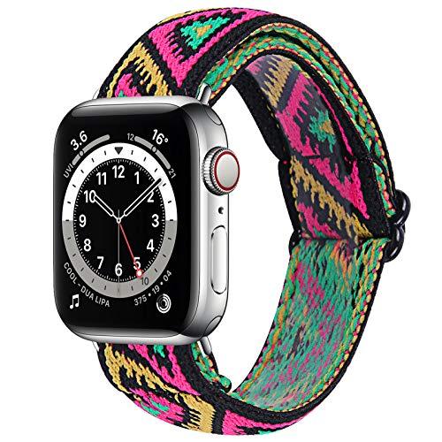 Cinturini per orologi elastici intrecciati compatibili per Apple Watch 42 mm 44 mm, cinturino sportivo sostitutivo con loop solo intrecciato per serie IWatch 6/5/4