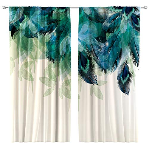 Riyidecor Watercolor Peacock Feather Curtains (2 Panels 42 x 63 Inch) Teal Blue Rod Pocket Turquoise Floral Green Leaf Rustic Art Printed Living Room Bedroom Window Drapes Treatment Fabric