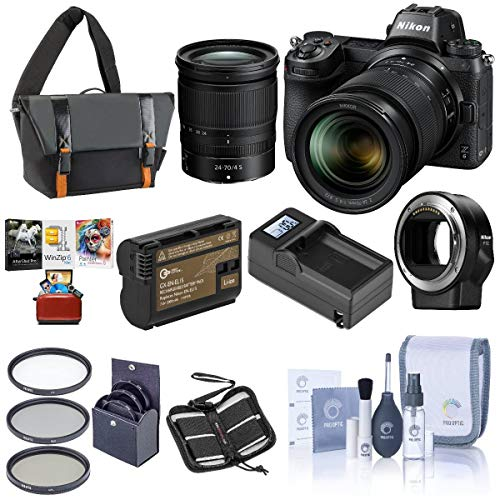 Nikon Z6 FX-Format Mirrorless Camera with NIKKOR Z 24-70mm f/4 S Lens - Bundle with Camera Case, 72mm Filter Kit, Spare Battery, Charger, Cleaning Kit, Memory Wallet, Mac Software Package