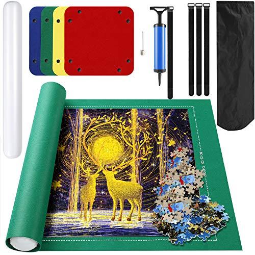 Tapete Puzzle, guarda puzzle, Rompecabezas de hasta 2000 Piezas, Manta de rompecabezas, Puzzle Mat Roll con 4 bandejas de clasificación, 3 cierres elásticos, mini bomba, para adultos y niños