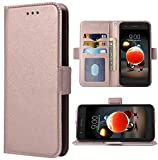 Phone Case for LG Aristo 3 2 Plus 1/Tribute Dynasty Empire/Rebel 4 LTE/Fortune 2/Phoenix 4/K8 K8s Folio Flip Wallet Case,PU Leather Credit Card Holder Slots Full Body Protection Phone Cover Rose Gold