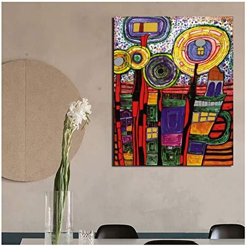 Friedensreich Hundertwasser Kunst Leinwand Malerei Drucke Wohnzimmer Wohnkultur Moderne Wandkunst Ölgemälde Poster Bilder -60x80cm Kein Rahmen