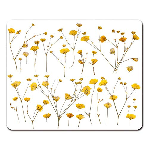 Mouse Pad with Non-Slip Rubber Base Flower Pressed Yellow Wildflowers White Dry Gaming Mousepad for Computer Notebook Laptop PC, 7.9x9.8 inches