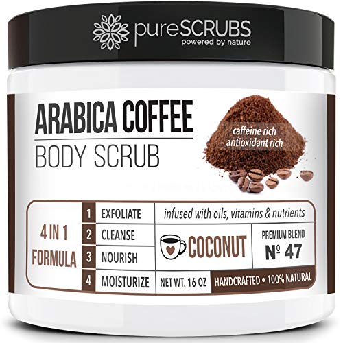 pureSCRUBS Premium Organic Arabica Coffee Body Scrub Set - COCONUT BLEND Large 16oz Anti Cellulite Scrub With Essential Oils & Nutrients + FREE Wooden Spoon, Loofah & Mini Organic Exfoliating Bar Soap