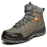 JUDBF Botas de Trabajo Invierno Hombre Mujer Impermeable Zapatillas de Seguridad con Punta de Acero Botas de Nieve Zapatos de Trabajo Ligero Antideslizante Zapatillas de Senderismo Warm608Green/43