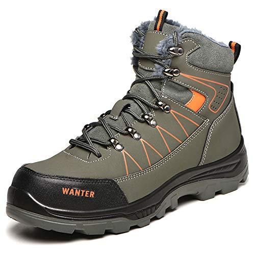 JUDBF Botas de Trabajo Invierno Hombre Mujer Impermeable Zapatillas de Seguridad con Punta de Acero Botas de Nieve Zapatos de Trabajo Ligero Antideslizante Zapatillas de Senderismo Warm608Green/42