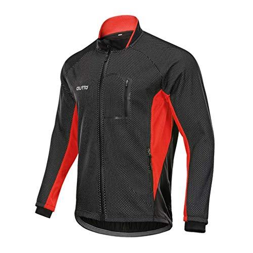 Radtrikot MännerHerbst Und WinterVliesLange ÄrmelWasserdichtwindundurchlässigMountainbikeFahrrad-KleidungSport Jacke Red-XXXXL