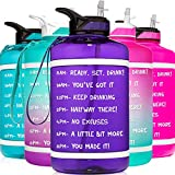 HydroMATE Half Gallon 64 oz Motivational Water Bottle with Time Marker Large BPA Free Jug with Straw and Handle Reusable Leak Proof Bottle Time Marked Drink More Water Daily Hydro MATE Purple