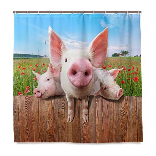 BIGJOKE Duschvorhang, lustige Schweine-Blume, schimmelresistent, wasserdicht, Polyester-Stoff, Badezimmer-Vorhang, 12 Haken, 182,9 x 182,9 cm, Heimdekoration