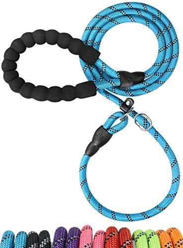 TagME Retrieverleine mit Zugstopp,Reflektierende Seilleine 185 cm Moxonleine ,Weicher gepolsterter Griff,10mm für Mittlere Hunde,Blau
