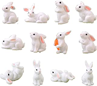 HYSTYLE 12 Pcs Cute Animal Rabbit Miniature Animal Figures Mini Bunny Figurines, Rabbit Cake Cupcake Toppers, Rabbit Cake ...