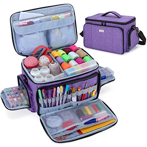 Luxja High Capacity Sewing Accessories Organizer, Sewing Supplies Organizer with Shoulder Strap (Patent Pending), Purple