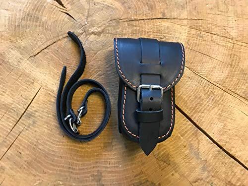 ORLETANOS brillenkoker compatibel met riemtas leer extra tas zadeltas tas leren tas bikertas bril Harley Davidson HD zwart oranje nieuw biker etui riem