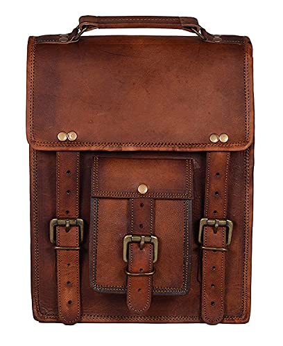 Axuvel - Zaino vintage in pelle marrone per iPad (28 x 22,9 cm)