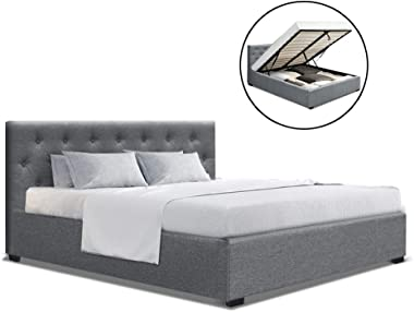 MODAA Double Full Size Gas Lift Bed Frame with Tufted Headboard, Steel Farme and Wooden Arched Slat Bed Base Mattress Storage