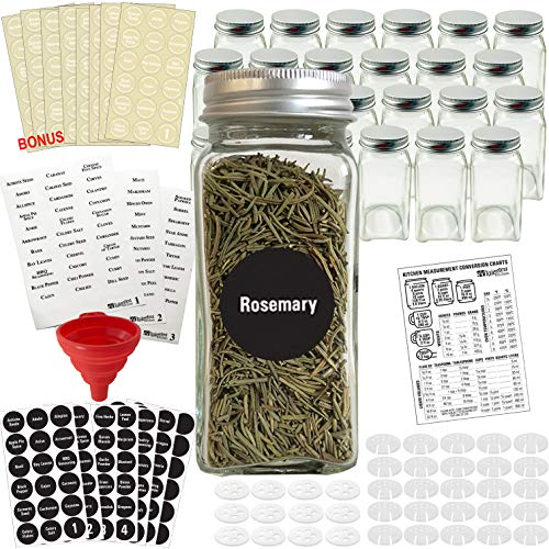 Talented Kitchen 24 Glass Spice Jars w/2 Types of Preprinted Spice Labels. Commercial Grade, Complete Set: 24 Square Empty Jars 4oz, Pour/Sift & Coarse Shakers, Airtight Cap, Chalkboard & Clear Label