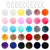 240 Pieces Pompom Keychain DIY Set, Including 60 Pieces Faux Fur Fluffy Ball Charm with 60 Pieces Keychain and 120 Pieces Open Jump Rings for DIY Craft Pendant Making Decorations