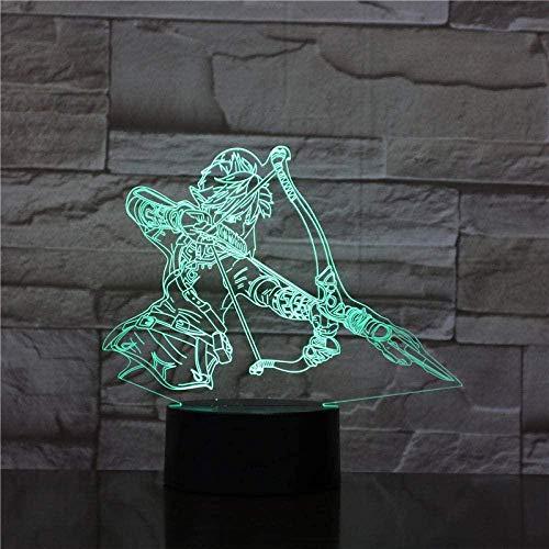 GEZHF 3D Illusion Lamp Led Night Light Game Zelda Kid The Legend of Zelda Bedroom Decorative Acrylic Desk Lamp Best Birthday Holiday Gifts for Children