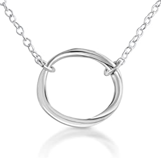 925 Sterling Silver Karma Ring Circle of Life Pendant Necklace (20 Inches)