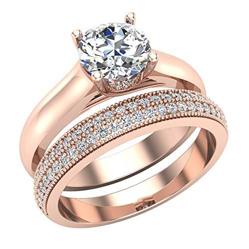 Glitz Design Mujer Niños Hombre Unisex oro 14 quilates (585) oro rosa redonda Diamond