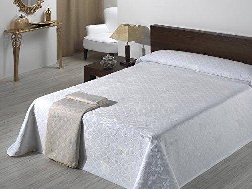 SABANALIA - Colcha de Pique Giovanna (Disponible en Varios tamaños) - Cama 200, Blanco